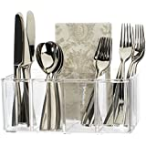 Clear Plastic Utensil and Condiment Caddy | 5 Compartments