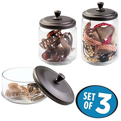 mDesign Makeup and Hair Accessory Storage Canisters - Set of 3 Glass Apothecary Jars with Lids for Bathroom Vanity Countertops, Holders Organize Combs, Clips, Barrettes, Bobby Pins - Clear/Bronze - Bronze Jar