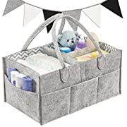 Bubzwell Baby Diaper Caddy Organizer - Large Size for Diapers, Wipes & Nursery Storage - Unisex Gray Felt with Chevron for Boys and Girls, Comes with Felt Bunting Nursery Decoration