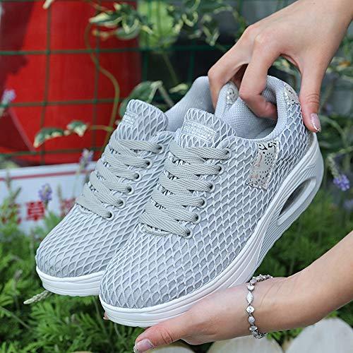 Deporte Gimnasia Gris Mujer OHQ Sneakers Ocasionales Zapatillas De Outdoor con CóModo Zapatos De Gruesa Aire Zapatillas Suela Zapatillas De Deportivos 1ExHST