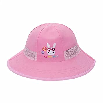 1fc174f9e15 Amazon.com   Little Children Boys Girls Sun Protection Hat with Chin Strap  for Summer Beach Pink   Baby