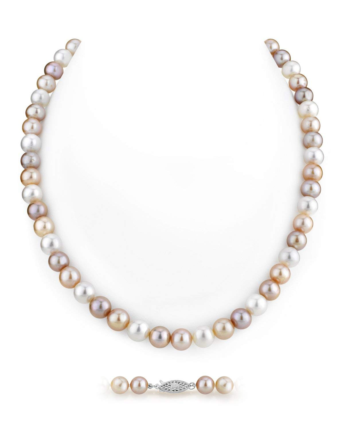 THE PEARL SOURCE 7-8mm AAA Quality Round Multicolor Freshwater Cultured Pearl Necklace for Women in 24'' Matinee Length by The Pearl Source