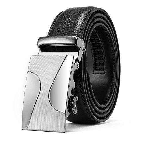 AKPOWER Mens Belt Leather Automatic Sliding Buckle 35mm Ratchet Belt Black