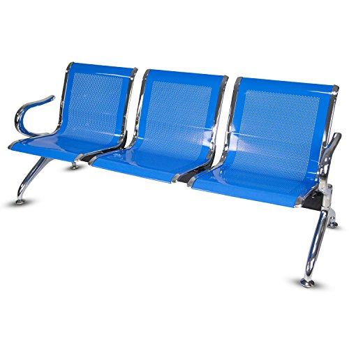 Kinbor 3-Seat Guest Chair Waiting Chair Airport Reception Bench Room Garden Salon Barber Benches (Blue) (Seat Chair Reception)