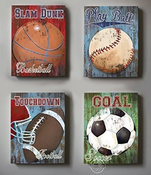 MuralMax - Professional Sports -Baseball - Football - Basketball & Soccer Theme - Canvas Wall Décor - Size - 20 x 24 by MuralMax
