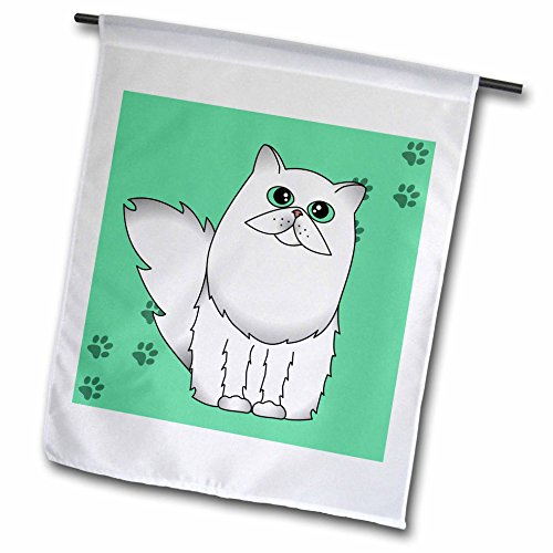 3dRose fl_6111_1 White Chinchilla Long-Haired/Persian Cat Paw-Print, Garden Flag, 12 by 18-Inch Art Com Persian Print