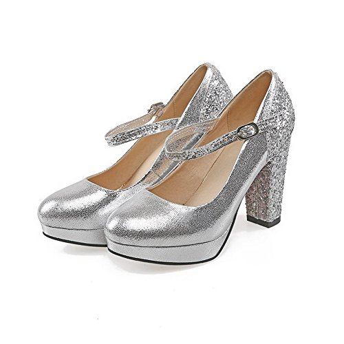 AgooLar Damen Gemischte Farbe Blend-Materialien Hoher Absatz Rund Zehe Schnalle Pumps Schuhe Silber