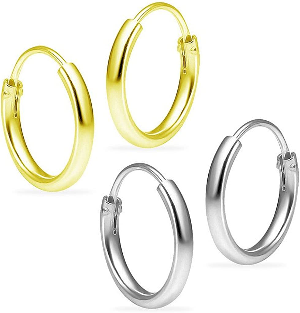 5 Pair Set 10mm Sterling Silver Endless Hoop Earrings Unisex Hypoallergenic Yellow Gold Flashed Finish