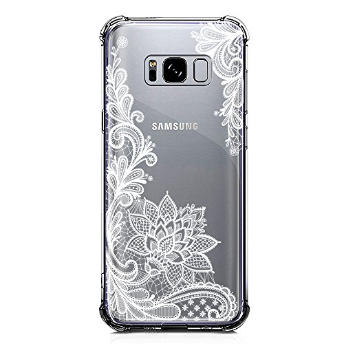 Galaxy S8 Case Clear with Lace Design Shockproof Protective Case for Samsung Galaxy S8 5.8 Inch Cute Henna Flowers Pattern Flexible Soft Slim Rubber White Floral Cell Phone Back Cover for Girls Women (Mobile Phone Back Cover)