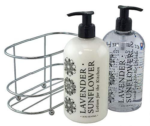 Stationery Cream - 3 Pc Bath Set - Lavender Sunflower Duo in Caddy