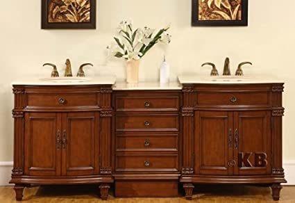80 double sink bathroom vanity furniture with cream marfil marble - Double Sink Bathroom Vanities
