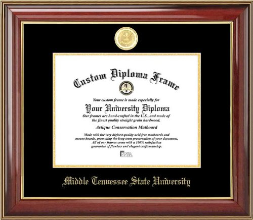Laminated Visuals Middle Tennessee State Univ. Blue Raiders - Gold Medallion - Mahogany Gold Trim - Diploma Frame