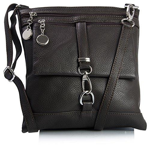 Big Handbag Shop Genuine Italian Leather Messenger Cross Body Shoulder Bag Coffee (BH346)