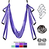Gpeng Yoga Swing - Yoga Trapeze - Yoga Hammock - Yoga Trapeze Stand - Aerial Yoga Hammock - Yoga Sling/Inversion/Kit - Include 2 Extension Straps and Hardwards for Ceiling Hook/Screws (10 Colors)