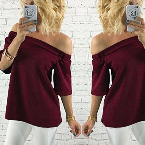 Tongshi Las mujeres de la camisa del hombro blusa ocasional camiseta de las tapas Vino rojo