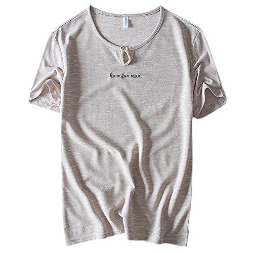 Inicio hombre de redondo Casual color de corta lisa caqui Camiseta para Cuello manga Top verano de q0xPS