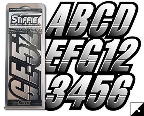 "Stiffie Techtron White/Black 3"" Alpha-Numeric Registration Identification Numbers Stickers Decals for Boats & Personal Watercraft"