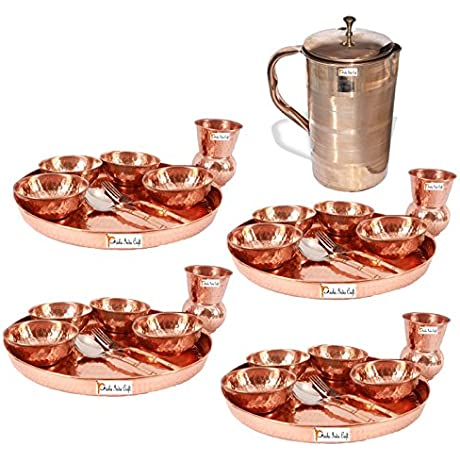 Prisha India Craft Set Of 4 Dinnerware Traditional 100 Pure Copper Dinner Set Of Thali Plate Bowls Glass And Spoon Dia 12 With 1 Luxury Style Pure Copper Pitcher Jug Christmas Gift