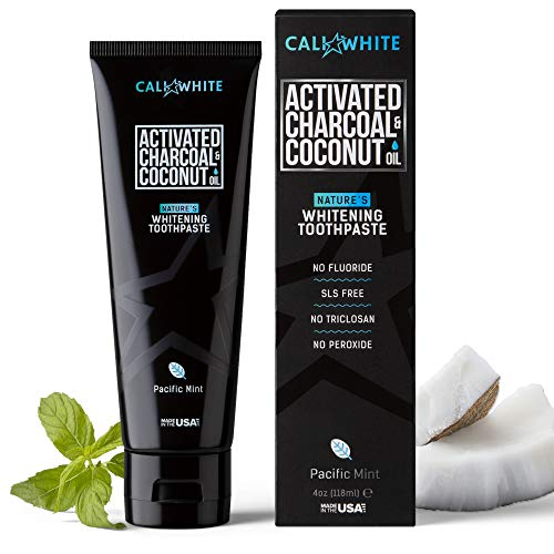 Cali White ACTIVATED CHARCOAL & ORGANIC COCONUT OIL TEETH WHITENING TOOTHPASTE, MADE IN USA, Best Natural Whitener, Vegan, Fluoride Free, Sulfate Free, Organic, Black Tooth Paste, PACIFIC MINT (4oz)