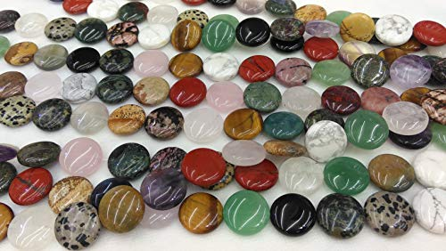 20mm 20pcs Genuine Natural Mixed Stone Loose Beads Coin disc Round Shape