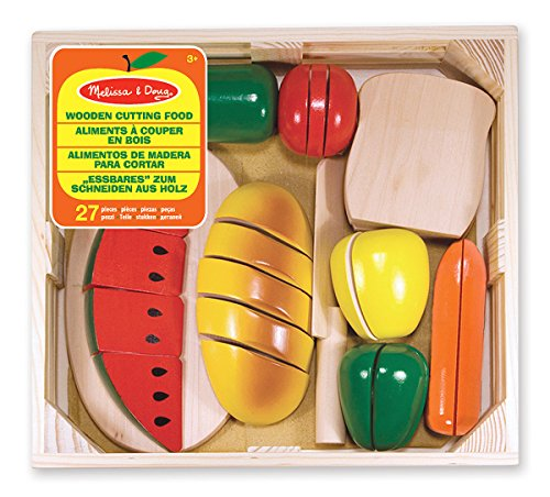 Melissa & Doug Cutting Food - Play Food Set With 25+ Hand-Painted Wooden Pieces, Knife, and Cutting Board