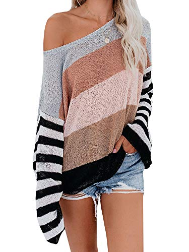 Ybenlow Womens Off Shoulder Sweaters Batwing Sleeve Striped Lightweight Loose Oversized Pullover Knit Jumper Tunic Tops Brown