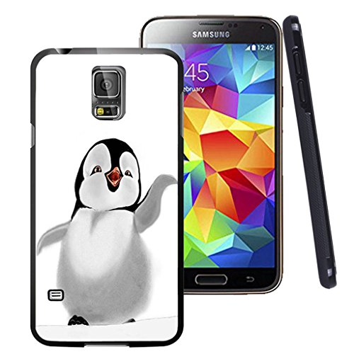 - Galaxy S5 Case, Customized Black Soft Rubber TPU Samsung Galaxy S5 Case Penguin say hi to people