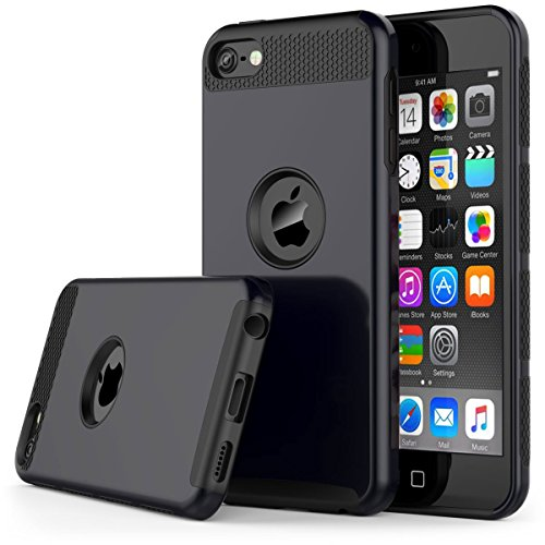 od Touch 5 Case,Jwest Slim Fit Protective iPod Touch Case 2-Piece Style Hybrid Hard Case Cover for Apple iPod touch 5 6th Generation (Black&Black) ()