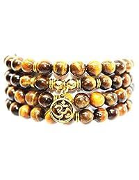 L'GOKS Amazing 8mm Beads Yoga Bracelet/Necklace Combo - Natural Gemstones 108 Mala Prayer Beads