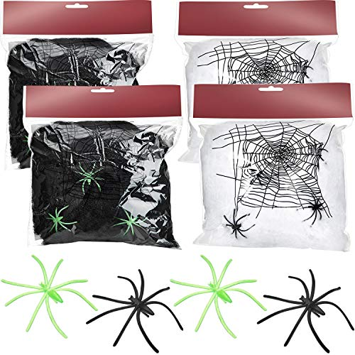 Black And White Spider - 4 Bags Halloween Spider Web Cobwebs