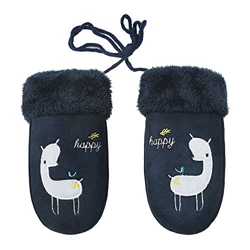 EraseSIZE Children's Gloves Winter Cartoon Soft and Warm Plus Velvet Thickening Mittens (Dark Blue)