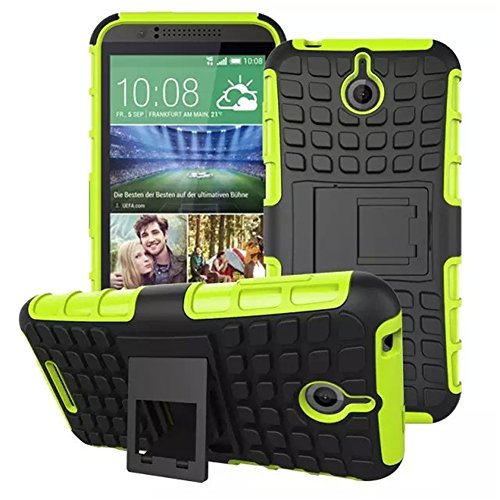 Urvoix for HTC Desire 510, Hybrid Heavy Duty Dual Layer Shock Proof Rugged Shell Grenade Grip Tyre Textured Kickstand Case Cover Green (Htc Desire 510 Track Case)