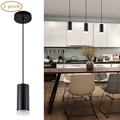 Harchee Modern LED Cylindrical Pendant Lighting Black Mini Pendant Light with Acrylic Shade, Adjustable Ceiling Hanging Lamp Fixture for Kitchen Island Bar Dining Room Farmhouse 7W Daylight 6000K