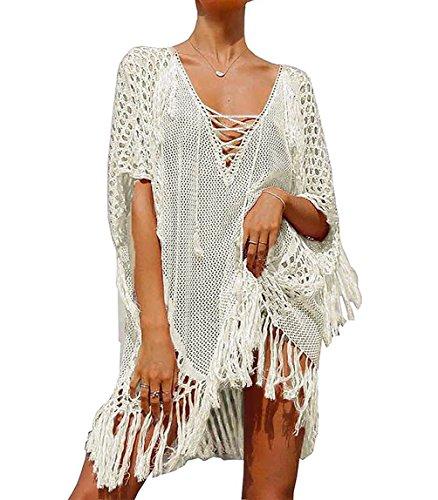 Bestyou Women's Swim Cover Up Tunic Crochet Knit Top Beachwear Swimsuit Swimwear (Beige B) -