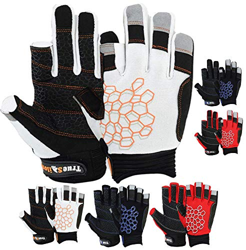 MRX BOXING & FITNESS Sailing Gloves Sticky Palm Gripy Glove Yachting Kayak Dinghy Fishing 2 Cut Finger (White 2-XL) Black Focus Hand Mitt