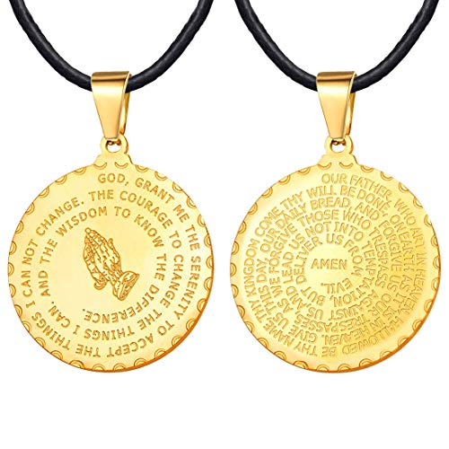 U7 Men Women Bible Verse Prayer Necklace 18K Gold Plated Praying Hands Round Coin Medal Pendant with 2mm Black Leather Chain 26 -