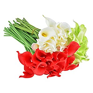 Wuudi 20pcs Calla Lily Bridal Wedding Bouquet head Latex Real Touch Flower Bouquets 4