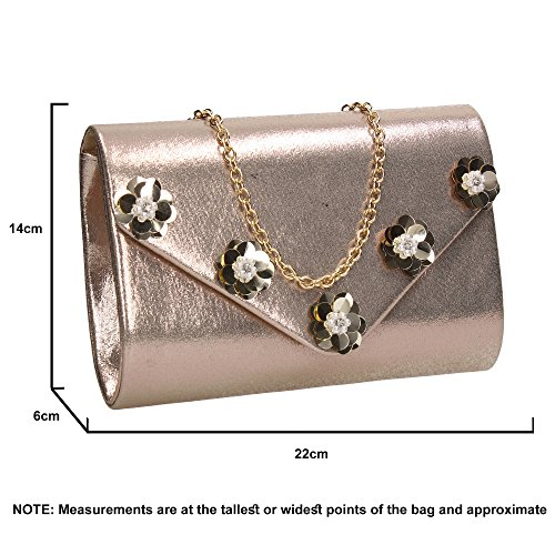 Night Party Ladies Bag Celebrity Josie Wedding Prom Gold Clutch Shiny Evening Floral SWANKYSWANS Out Envelope O0qOIv