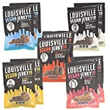 Louisville Vegan Jerky - 5 Flavor Mega Variety 10-Pack, 21 Grams of Non-GMO Soy Protein, Gluten-Free Ingredients (Black Pepper, Chipotle, Perfect Pepperoni, Maple Bacon & Carolina BBQ, 3 oz)