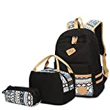 Aliceherry Canvas School Backpack for Teenage Girls Laptop Backpacks Lunch Bag & Pencil