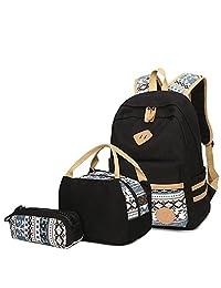 Aliceherry Canvas School Backpack for Teenage Girls Laptop Backpacks Lunch Bag & Pencil Case (Black)