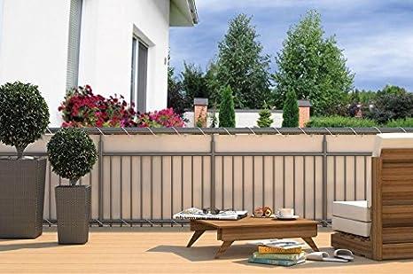 empasa - Biombo Exterior para balcón con Ojales + Cuerda, 600 x 90 cm, Crema: Amazon.es: Jardín