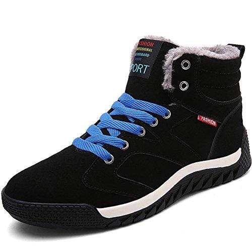 ukStore Outdoor Herren Winterschuhe Warm Gefütterte Stiefel Winterstiefel Wasserdicht Schneestiefel Schnür Kurzschaft Boots Winter Sneaker Blau