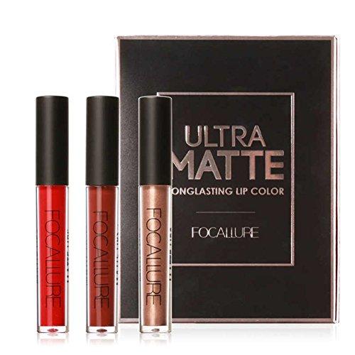 Gracefulvara 3Pcs/Set Long Lasting Matte Liquid Lip Gloss Li