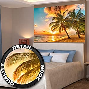 Barbados beach at sunset mural by great art for Poster mural xxl fleurs