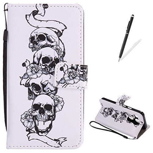 LG Nexus 5X Flip Leather Case KaseHom [Free Black Touch Stylus], Folio Magnetic Cartoon Pattern Premium PU Wallet Cover with Lanyard [Card Slots] [Kickstand] Protective Holster Skull Rose