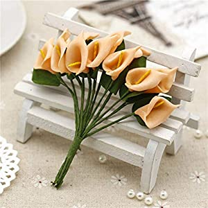 GSD2FF 12pcs Mini Foam Calla Lily Bouquet Artificial Flowers Decoration Wedding Decoration Valentine's Day Present,Orange 4