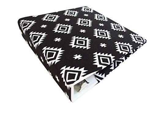 """3 Ring Binder Cover BLACK and WHITE SOUTHWEST Stretch Fabric for 2""""-3"""" Wide Binder (Cover Only), Planner Binder Accessories"""
