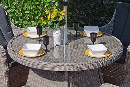 Al aire libre muebles de ratán Casamore Madrid - 110 cm mesa y 4 sillas en gris tejido de mimbre - Entrega gratuita: Amazon.es: Jardín