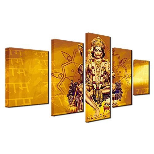 LiftGather Painting Wall Art Baseball player Hat Modern Indian Buddha statue(Lord Hanuman) Canvas Painting for Hallway Living Room Bedroom Home Decor With Frame Ready to Hung(40